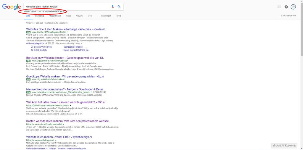 zoekresultaten google, website laten maken kosten